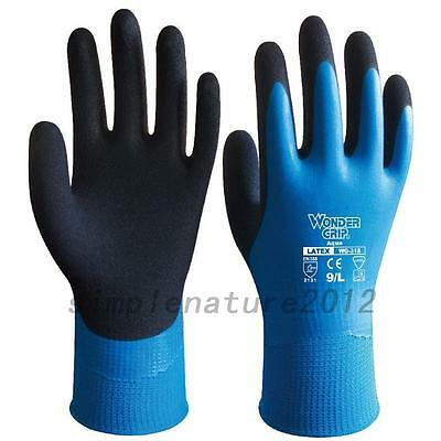 Wonder Grip 13 Gauge Aqua Latex Waterproof Fully Coated Nylon Gloves Blue WG-318