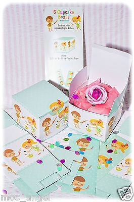 Cupcake boxes set of 6 with stickers cute baking cake sweets party bags or gifts