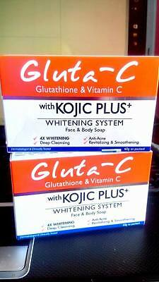 GLUTA C INTENSE WHITENING FACE AND BODY SOAP WITH KOJIC PLUS 4XWHITENING 2 bars