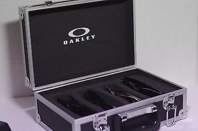 Small Metal Oakley sunglasses or shades Travel Display Case stand fits 4 shades