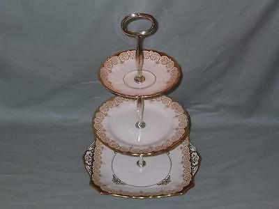 Vintage Plant Tuscan 3-Tier Hostess Cake Plate Stand Ivory/Cream Gilt Patt.6708A