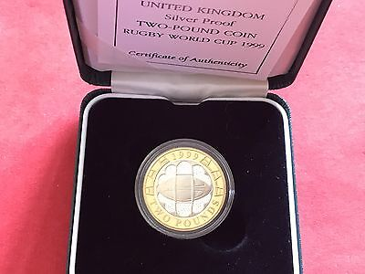 1999 Royal Mint Silver Proof £2 Two Pounds Coin - Rugby World Cup