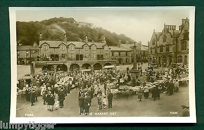 SETTLE MARKET DAY WITH STALLS & PEOPLE, vintage postcard