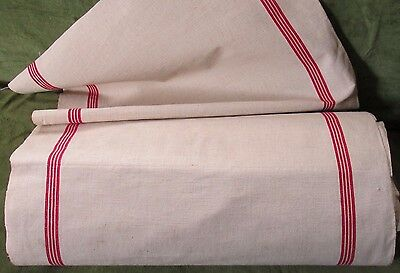 Vintage Rustic French Farmhouse Metis Linen Red Stripe Tea Towel Fabric Yard