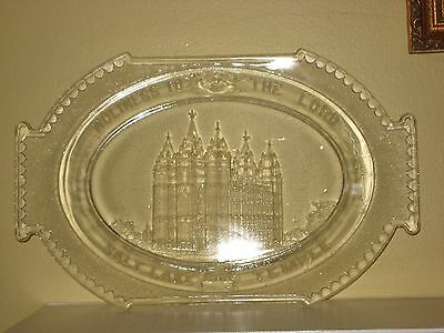 SALT LAKE TEMPLE SOUVENIR BREAD PLATE, Pressed Glass MORMON LDS 1983 RARE