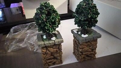 Dickens Village department 56 stone corner post with holly tree