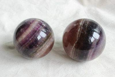 2 Natural Purple Fluorite Crystal Sphere Ball Polished Healing China 72-73mm