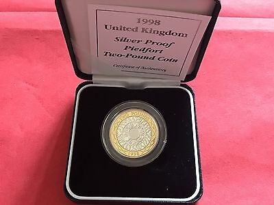 1998 Royal Mint Piedfort Silver Proof £2 Two Pounds Coin First Fourth Portrait
