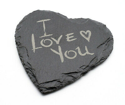 Personalized natural slate stone heart sign coaster engraved gifts presents idea