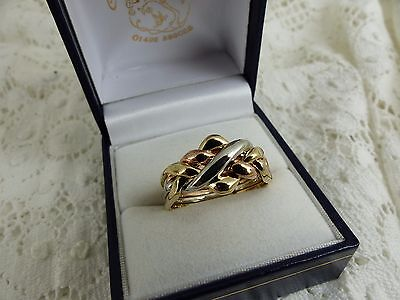 NEW, 9ct Yellow,Rose & White Gold Puzzle Ring,6.5grams size T