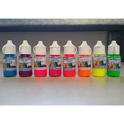 Rolkem FULL SET OF ALL 8 - Neon/Lumo 'Glow in the Dark' Edible Food Paint & Gel