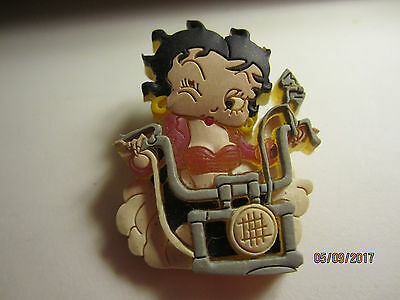 Vintage Betty Boop Motorcycle cartoon thick rubber pin back KSF/FS Hearts/FS