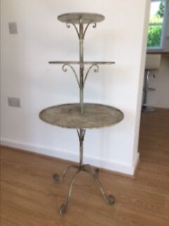 Vintage sage green aged three tier display stand