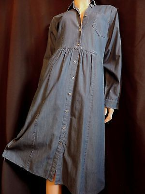 Pur Vintage  Robe Laura Ashley En Jean Chambray T 42/ Blue Denim Dress