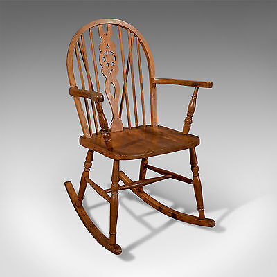Antique Windsor Rocking Wheelback Country Chair Edwardian c1910