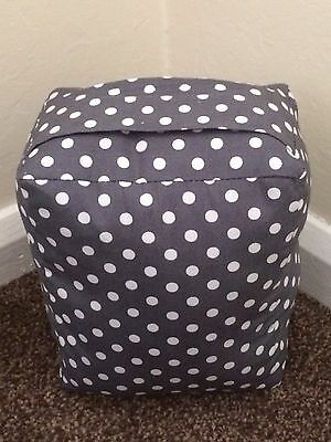 New Unfilled Fabric Doorstop - Grey White Spots