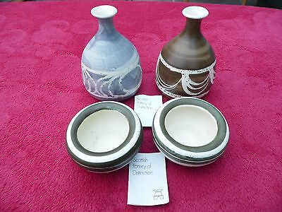 4 Scottish Pottery Items From The Aviemore Studio 2 Vases And A Pair Of Bowls