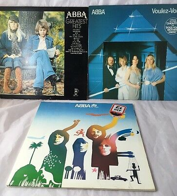 3 x Abba LP Vinyl Bundle Greatest Hits Voulez Vouz And The Album