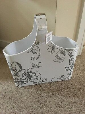 Shabby Chic White Grey Floral Magazine Rack Holder Stand