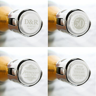 Personalised Stopper Wine, Prosecco, Champagne, Birthday, Weddings - Free P&P