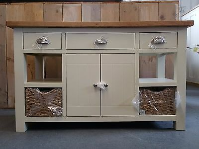 Large Painted Granite Oak Top Kitchen Island