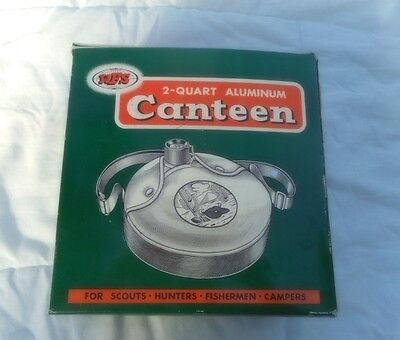 Vintage Wfs  Scouts Campers Two Quart Aluminum Canteen With Strap, Cover In Box