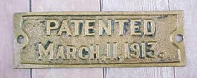 Orig. Railroad Bronze / Brass Patent Plate March 11, 1913 / From Pullman Car