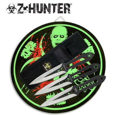 Z-Hunter Set 3 Throwing Knives with Target - Brand New