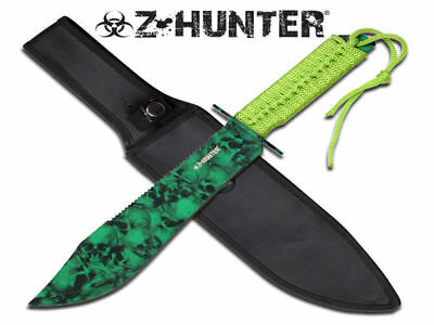 Z-Hunter Green Skulls Fixed Blade Knife (37.5cm) with Nylon Sheath - Brand New