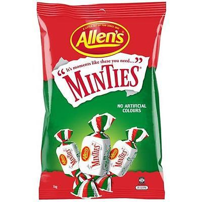 Allens Minties 1 kg Chewy Mint Lollies Party Favors Bags Boxes Candy Allens