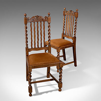 Antique Pair of Oak Barley Twist Dining Side Chairs Quality Edwardian c1910