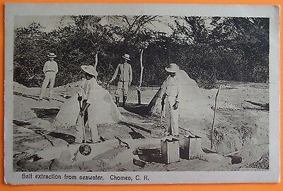 Postcard c.1910 SALT EXTRACTION FROM SEAWATER CHOMES COSTA RICA CENTRAL AMERICA