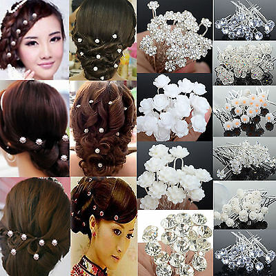 NEW 20/40Pc Wedding Bridal Pearl Flower Crystal Hair Pins Clips Bridesmaid
