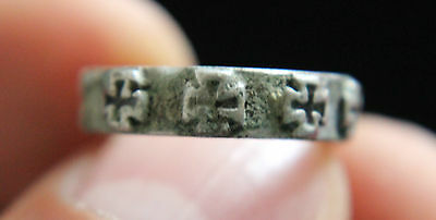 Crusades Europe, c. 12th-13th century AD Silver Ring with Crosses