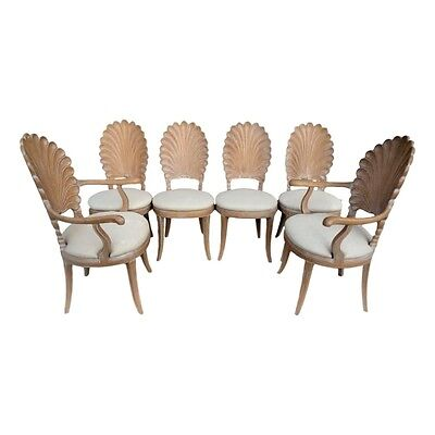 Vintage Set Of 6 Carved Scalloped Shell Back Italian Grotto Style Dining Chairs