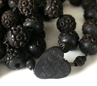 "Antique Victorian Mourning Vulcanite Ebonite Flower 74"" Very Long Wall Rosary"