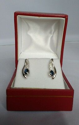 9ct white gold sapphire and diamond earrings 0.102cts diamonds