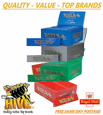 Rizla King Size Slim Paper Booklets Red Blue Green Silver Rolling Papers Genuine