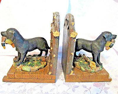 Heavy resin pair of black labrador retriever hunting dogs bookends