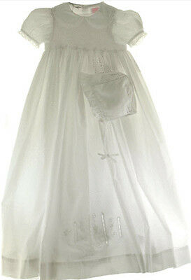 Girls Christening Gown with Bonnet White Smocked Size 3 Months NWT by Petit Ami