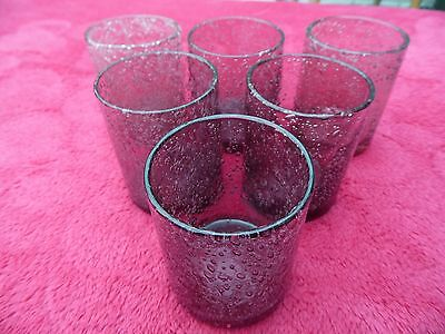A Set Of 6 Heavy Hand Blown Purple Drinks Tumblers Each Hand Made And Unique