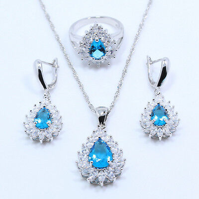 Swiss Blue & White Topaz Gemstone 925 Silver Pendant Necklace free gift box