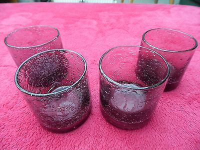 A Set Of 4 Heavy Hand Blown Mid Purple Whiskey Glasses All Hand Made And Unique