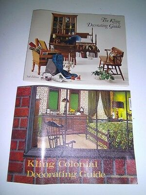 1960's KLING COLONIAL Furniture DECORATING GUIDE booklet TWO Carl Harz Elmer NJ
