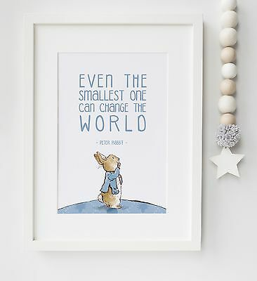 Peter Rabbit Baby Quote Beatrix Potter Nursery Poster Print Christening UNFRAMED