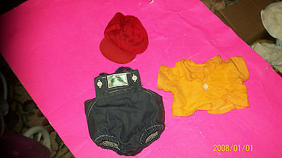 fits CABBAGE PATCH kids  DOLL  yellow SHIRT/ DENIM  romper w/hat coleco