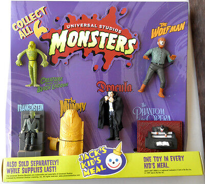 Jack in the Box Universal Studios MONSTERS Complete 1999 Kid's Meal Toy Display