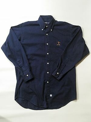 Dark Blue Polo Sit Down University Teddy Bear Oxford Shirt Button Collar Small S