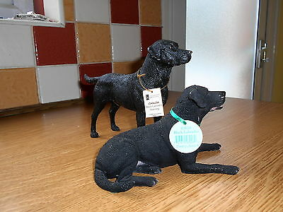 Two Black Labradors by Country Artists with tags
