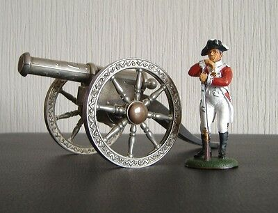Napoleonic war - British marine solider with silver plated cannon Waterloo